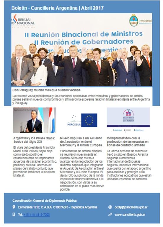 Boletín Cancillería Argentina abril 2017